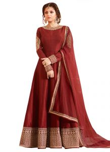 Stylish Fashion Fabulous Brown Embroidered Semi Stitched Long Anarkali Suit-sfltnitya-97007