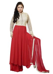 Stylish Fashion Designer Long Anarkali Suit-red,cream