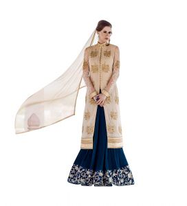 Stylish Fashion Beige And Dark Blue Koti Style Anarkali Suit