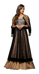 Stylish Fashion Black And Beige Embroidered Floor Long Anarkali Suit