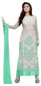 Stylish Fashion Green And White Embroidered Straight Suit Sfltg-101