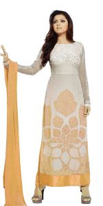 Stylish Fashion Orange And White Embroidered Straight Suit Sflto-102