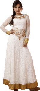 Stylish Fashion Fabulous Embroidered White Floor Length Anarkali Suit With Exclusive Back Sfp-2057