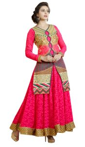 Stylish Fashion Designer Embroidered Pink Floor Length Anarkali Suit Sfp-2060