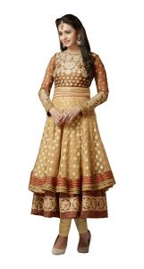Anarkali Suits (Stitched) - Stylish Fashion Amazing Embroidered Neck Beige Anarkali Suit With Embroidery SleevesSFP-2064