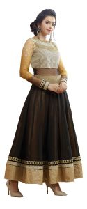 Stylish Fashion Fabulous Embroidered Black And Beige Floor Length Anarkali Suit Sfp-2065