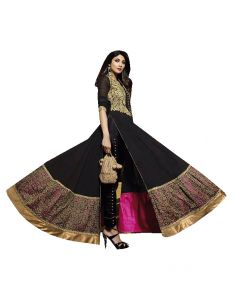 Stylish Fashion Black Embroidered Floor Length Anarkali Suit