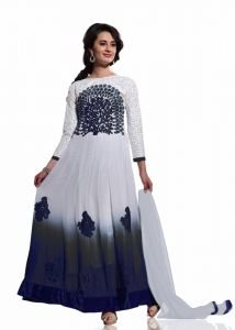 Anarkali Suits (Unstitched) - Stylish Fashion White and Black Embroidered Anarkali Suit SFVIPULB-1003