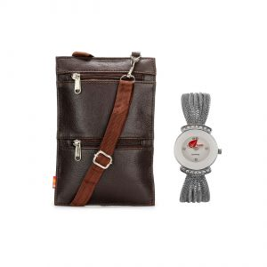 Arum Brown Sling Bag With Silver Chain Watch Asbw-010