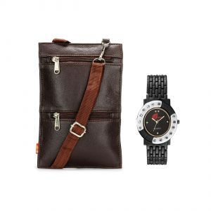 Watches for Women   Round Dial   Analog (Misc) - Arum Brown Sling Bag With Black & White  Watch ASBW-018