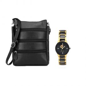 Women's Watches   Round Dial   Metal Belt   Analog - Arum Black Stylish Trendy Sling Bag With Golden  Watch ASBW-024