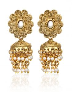 Arum Latest Designer Stylish Floral Golden Jhumki Earrings With Pearl Ajl-004