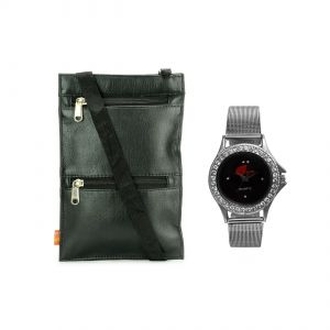 Arum Black Sling Bag With Silver Watch Asbw-005