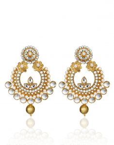 Arum Latest Designer Stylish Flora Golden Earrings With Pearl