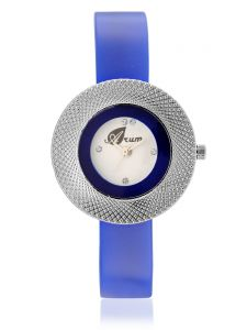 Arum Blue Silver Round Star Ladies Watch Aw-069