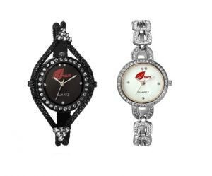 Arum Combo Of Two Black & White Watches For Ladies Anc-009
