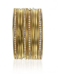 Arum Latest Designer Stylish Golden Bangles With Stone