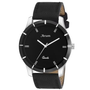 Arum Trendy Black Leather Watch