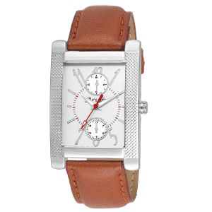 Leather strap - Arum Stylish Brown Square  Smart Watch
