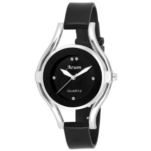 Arum Special Black Silver Round Ladies Watch
