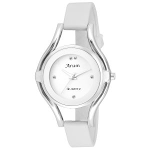 Arum Special White Silver Round Ladies Watch