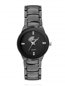 Arum All In Black Strap Watch For Girls Aw-100