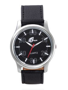 Men's Watches   Round Dial   Leather Belt   Analog - Arum Stylish Black Dial Strap Watch For Men