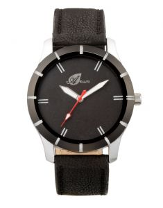 Arum Analog Black Dial With Black Leather Strap Men