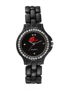 Arum Black Zigzag Round Ladies Watch