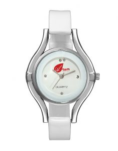 Arum White Silver Round Ladies Watch