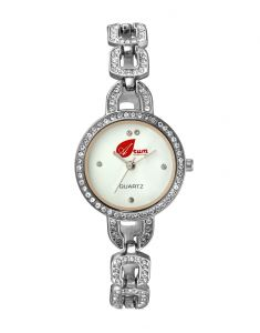 Arum White Silver With Stone Round Ladies Watch