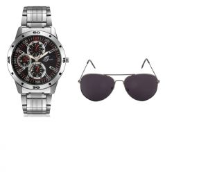 Men's Watches   Metal Belt   Analog - Arum Combo of Silver In Black Watch & Sunglass