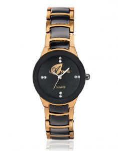 Women's Watches   Round Dial   Metal Belt   Analog - Arum Black With Copper Dial Women's Analog Watch