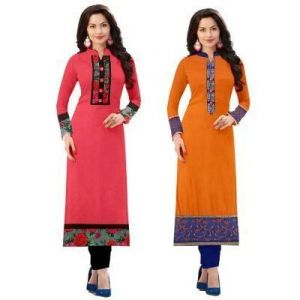 Morpich Fashion Buy 1 Pink Cotton Get 1 Orange Cotton Kurti Free (mfk10023)