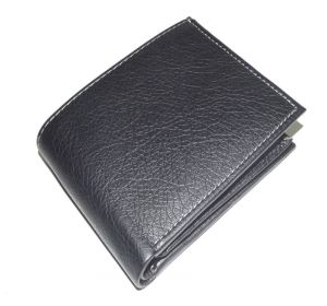Pe Mens Pure Black Pu Leather Wallet