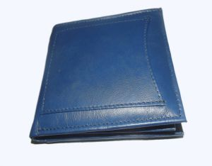 Pe Mens New Style Natural Pure Money Purse Blue Leather Wallet