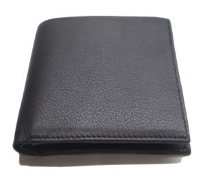 Pe Mens Pure Black Pdm Leather Wallet