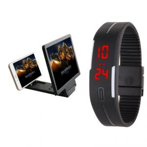 Snaptic 3d Folding Mobile Phone HD Screen Magnifier With Jelly LED Watch