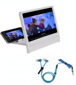 3d Folding HD Screen Magnifier With Zipper In Earphone Handsfree With Mic-blue