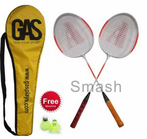 Badminton - Gas Smash Badminton Set Of 2 Racquet + Cover + Shuttlecock