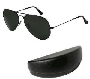 Indmart Black Mens Stylish Aviator Sunglasses With Hard Carry Case
