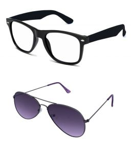 Blue-tuff Mens Wayfarer Aviator Sunglass Combo-black-clear/purple