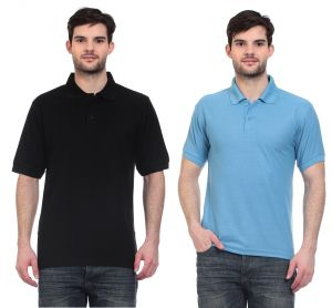 Blue-tuff Polo Neck Polycotton Multi Trending Plain T-shirt-pack Of 2