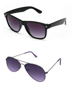 Blue-tuff Mens Wayfarer Aviator Sunglass Combo-black/purple