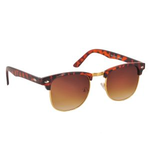 Clubmaster Sunglasses Googles Brown & Golden With Uv400 Lens For Men And Women