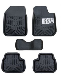 MP Premium Quality Car 4d Croc Textured Floor Mat Black-hyundai Santro Xing