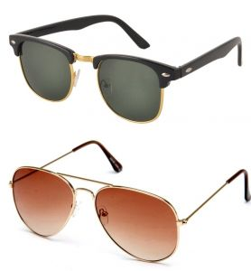 Blue-tuff Mens Clubmaster Aviator Sunglass Combo--black-golden/-brown