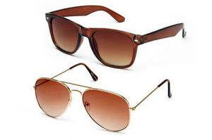 Blue-tuff Amazing Sunglass Combo Wayfarer Brown & Golden Aviator