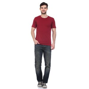 Blue-tuff Cotton Multi Trending Plain Round Neck T-shirt- Maroon