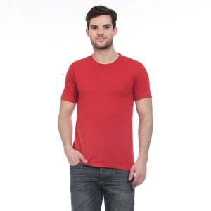 Blue-tuff Cotton Multi Trending Plain Round Neck T-shirt- Red
